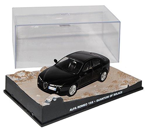 Quantum Vitrine (Ixo Alfa Romeo 159 Limousine Schwarz 2005-2012 EIN Quantum Trost James Bond 1/43 Modell Auto mit individiuellem Wunschkennzeichen)