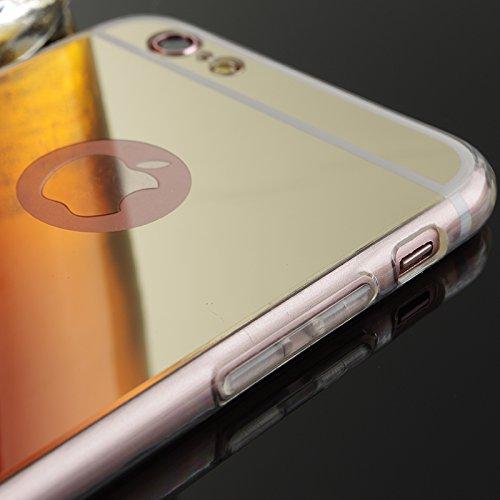 Oceanhome iPhone 6 Spiegel Hülle für Apple iPhone 6 TPU Silikon Mirror Case Hand Cover - Schutzhülle in Rose gold spiegel Rose Gold