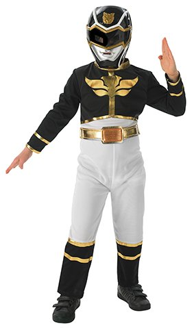 Rubie's 3887759 - Black Power Ranger Flat Chest Kostüm,  Größe:  M