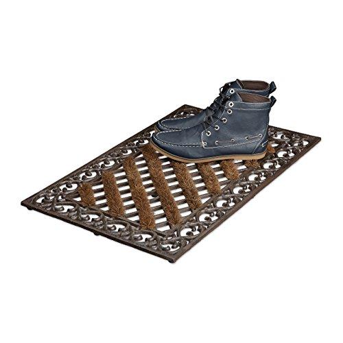 Relaxdays Fußabtreter Gusseisen mit Bürsten rechteckig HBT ca. 4 x 72 x 46 cm Fußabstreifer im Jugendstil Schuhabstreifer passend zum Landhausstil aus robustem Metall mit Anti-Rutsch-Füßen, bronze (Fuß Eisen)