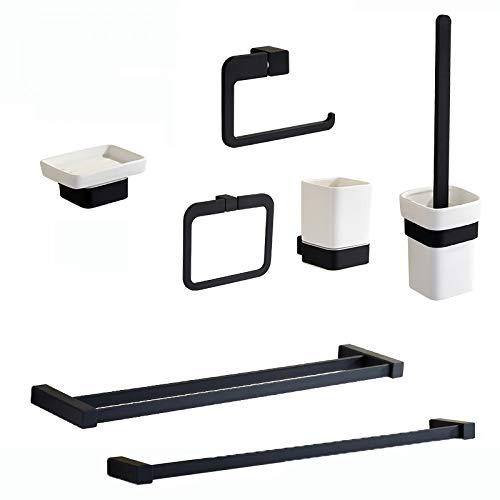 JJHR Schwarz Bad Zubehör Set Wand Messing Bad Hardware Sets Handtuchhalter Ring Zahnbürstenhalter Seifenschale -