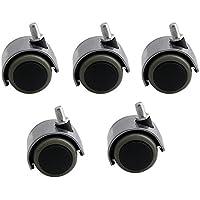 Yibuy - 5 Ruedas giratorias DE 50 mm de diámetro para Silla de Oficina (9,5 mm)