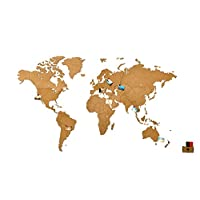 MiMi Innovations - Luxurious Wooden World Map Wall Decoration for Living Room, Office & Bedroom - 90/130/270 x 54/78/170 cm - Black/Brown/White