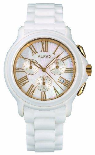Alfex - 5629_793 - Montre Homme - Quartz Chronographe - Cadran Nacre - Bracelet Céramique Blanc