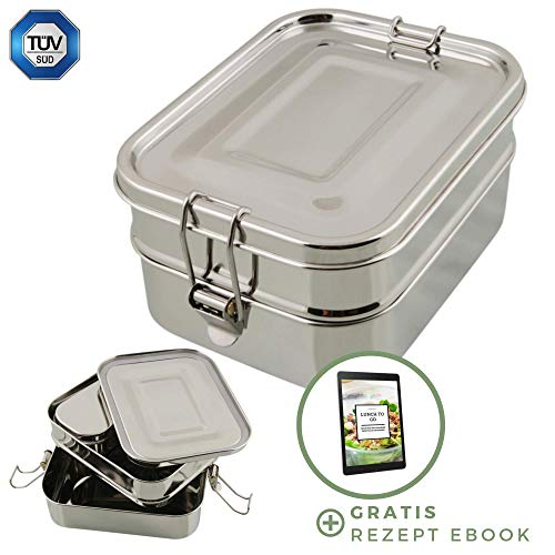 homeAct Edelstahl Eco Lunchbox & Brotdose inkl. Rezept Ebook   TÜV geprüft   3 in 1   auslaufsicher, umweltfreundlich & gesund   Essensbox für Schule, Uni, Arbeit und Camping