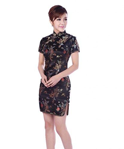 JTC Damen Frauen Partykleid Cheongsam Qipao Chipao Abendkleid Chinesisch Etuikleider (38, Modell 3) (Kleid Satin Cheongsam Chinesische)