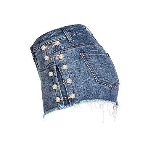 FJJBHSD Hosen Jeans Damen Pearl Studded Washed Denim Shorts Damen Sexy Hips Shorts Blau XL