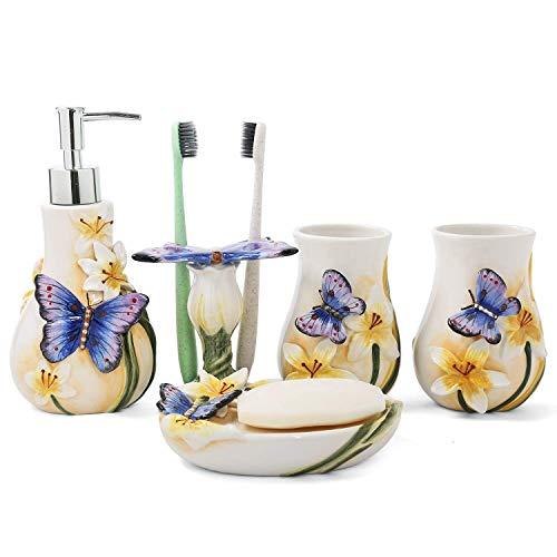 PEHOST Badezimmer Accessoires Set Keramik Tanz - Schmetterling,WC-Garnitur Badaccessoires,5-teilig,2 Zahnputzbecher,1 Zahnbürstenhalter,1 Seifenspender,1 Seifenschale
