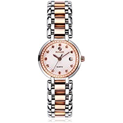 BINLUN Ladies Watches Diamonds Accented Bezel 2 Tone Rose Gold Stainless Steel Small Bracelet Watch with Date for Woman