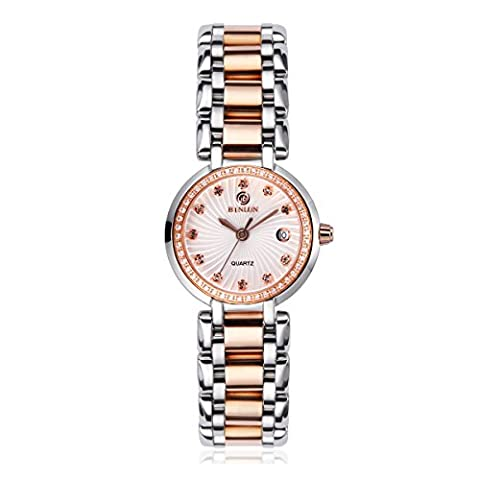 Binlun Ladies Diamonds Accented Bezel 2 Tone Rose Gold Stainless Steel Bracelet Watch with Date for Woman - Tono Oro Charm Bracelet Bracciale