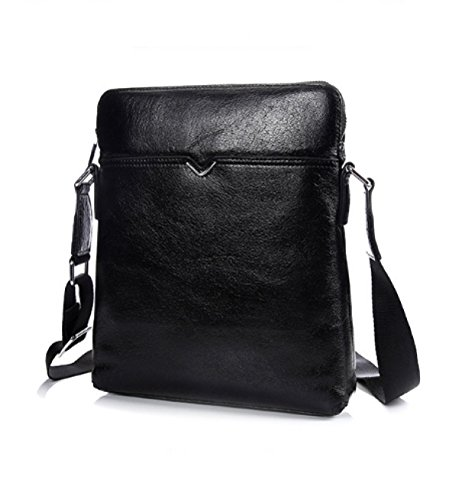 BULAGE Taschen Hauptschichtrindleder Männer Mobiler Vertikalschnitt Leder Business-Rucksack Messenger Dokument Schulter- Black