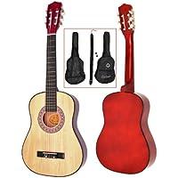 Ts-Ideen 5257 - Guitarra acústica infantil (talla 1/2 para 6-9 años aprox., incluye funda, correa y cuerdas), color marrón
