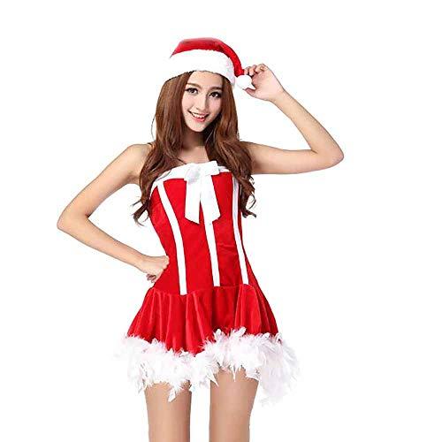 Sexy Kostüm Santa Billig - Santa Anzug Erwachsene Cosplay Sexy Dessous Uniform Nachtclub Flugbegleiter Anzug Kostüm Outfits Für Weihnachten/Karneval Halloween,Red,OneSize