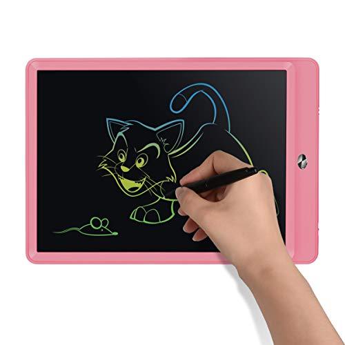 Upgrow LCD Writing Tablet, 10 Zoll LCD-Schreibtafeln, Grafiktabletts Schreibplatte Digital Schreibtafel Papierlos Schreiben Tabletten für Kinder Schule Graffiti Malen Notizen(Rosa+Bunt)