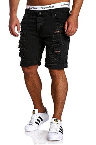 MT Styles Jeans-Bermuda Shorts Destroyed RJ-2299 [Schwarz, W34] (Bermuda Jean Shorts Denim)