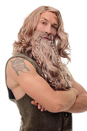 Kostüm Vollbart - WIG ME UP - 90760-A-B-ZA33B-ZA63-ZA130 Perücke & Bart geflochten Herren Karneval Fasching Wikinger Viking Normanne Barbar Zwerg Braun Grau Rostrot Mix