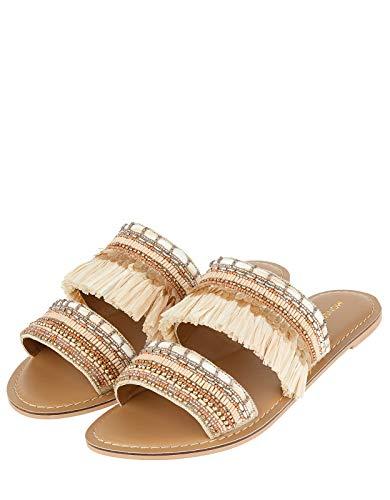 Monsoon Damen Rina Raffiabast Pantoletten Flache Schuhe Flache Sandalen - Schuhe 39