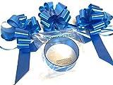INERRA Mariage Décoration Voiture Kit - 3 X Grand Pré-assemblés 7' Noeuds avec 14-Loops et 7 Mètres de Ruban - avec Couleur Assorti - Bleu Roi