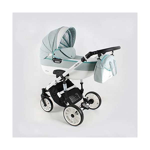 Lux4Kids Pram Stroller 3in1 2in1 Isofix Colour Selection Buggy Car seat Owe White Mint OW-04 4in1 car seat +Isofix Lux4Kids Lux4Kids Owe 3in1 or 2in1 pushchair. You have the choice whether you need a car seat (baby seat certified according to ECE R 44/04 or not). Of course the car is robust, safe and durable Certificate EN 1888:2004, you can also choose our Owe with Isofix. The baby bath has not only ventilation windows for the summer but also a weather footmuff and a lockable rocker function. The push handle adapts to your size and not vice versa, the entire frame is made of a special aluminium alloy with a patented folding mechanism. 1