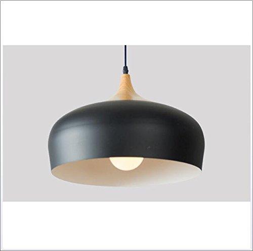 SSLW Einfache Persönlichkeit Lampen Kronleuchter Nordic Massivholz Aluminium Kreative Beleuchtung,Black (Mount Fixture 1 Licht)