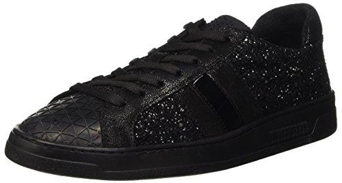 Bikkembergs Bounce 728 Low Boot W Glitter/Leather, Pompes à plateforme plate femme Noir - noir
