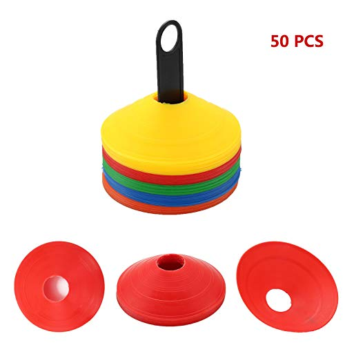 KingSaid 50pcs Disc Cone Set - Football Training Cones Space Markers Agility Safety Disc Cones for Soccer  Football Kids Training With Stand