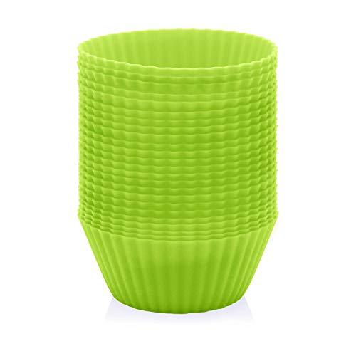 GOURMEO® 25 Muffinförmchen in grün, wiederverwendbar, hochwertiges Silikon, umweltschonend, BPA-frei - Cupcakeförmchen, Backförmchen, Cupcake Muffinform