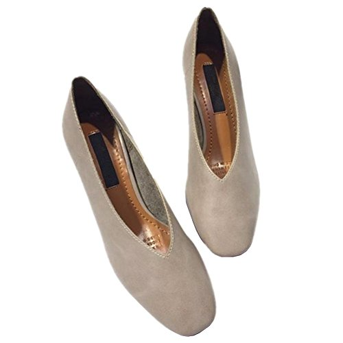 ruvida casuale con poca testa quadrata bocca con basse scarpe di cuoio singolo scarpe comodi in pelle morbida Grey