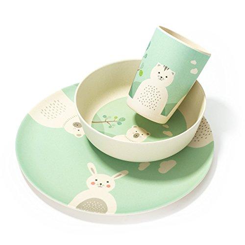 LALAVI Set Repas pour Bébés et Enfants : Assiette, Bol et Verre - Fabriqué en Bambou et Mélamine - 100 % Apte au Contact Alimentaire - Compatible Lave-Vaisselle - Créé avec Amour à Vienne