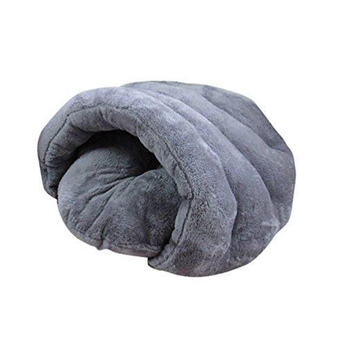 YOUJIA Hausbett Hundehaus Hundehöhle Haustier Bett Warm Schlafsack Matte Kissen Hundehütte Für Hunde Katzen (Grau, S)