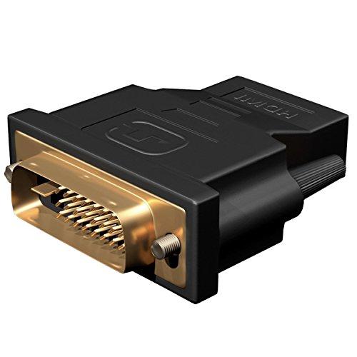DVI su HDMI, Act 1 Pack Placcato Oro DVI su HDMI HDTV Maschio a Femmina Adattatore Convertitore (Nero) (1 pack)