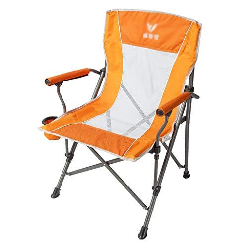 Klappstuhl Outdoor-Lounge-Stuhl atmungsaktive Gartenstuhl Angelstuhl Regiestuhl Strandkorb Indoor-Sofa Stuhl, Lager 130 kg (Color : Orange, Size : 95 * 56 * 60cm)