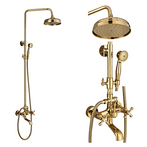 Wladimirowitsch Rosin Badezimmer Rainfall Badewanne Dusche Wasserhahn Combo-Top Duschkopf + Hand Spray Gold poliert (Und Wasserhahn-combo Badewanne Dusche)