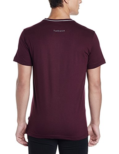 Van Heusen Athleisure Men's Round Neck Cotton T-Shirt (8907670965153_60021_Port Wine_M)