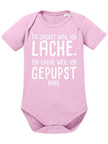 clothinx Baby Body Unisex Gepupst Hellrosa/Weiß Gr. 62-68