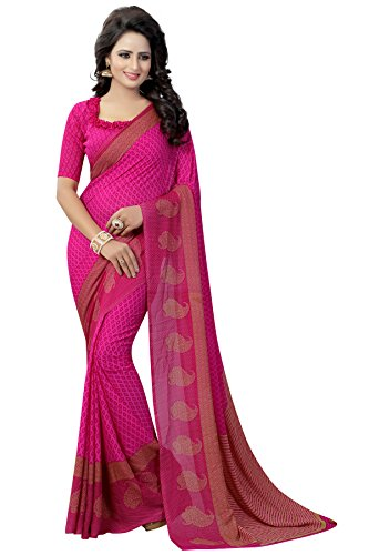 Shreeji Ethnic Women's Georgette Printed saree With Blouse Piece