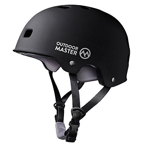 OutdoorMaster Skateboard Helm- Leichter niedriger Profil BMX Helm, Rollhelm Fahrradhelm mit herausnehmbares Futter, Belüftungssystem mit 12 Lüftungsöffnungen - L - Schwarz