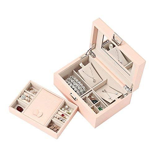 Vlando Schmuck-Box, Schmuck Organizer und Storage mit Spiegel und Schalen- Rosa