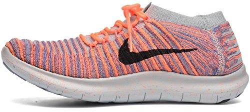 Nike Wmns Free Rn Flyknit, Scarpe da Corsa Donna Bright Mango/Black-iron Purple-wolf Grey