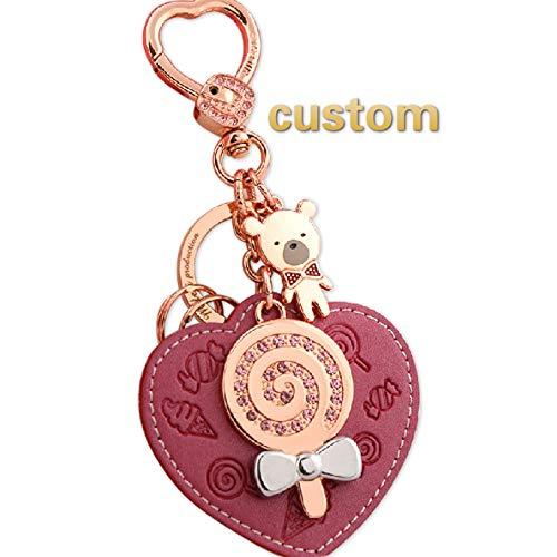Kyasu Personalisierte Custom Made Schlüsselanhänger Personalisierte Schlüsselanhänger Schlüsselanhänger Auto Schlüsselanhänger Tasche Anhänger - Rose Red Leather Rose Gold Buckle -