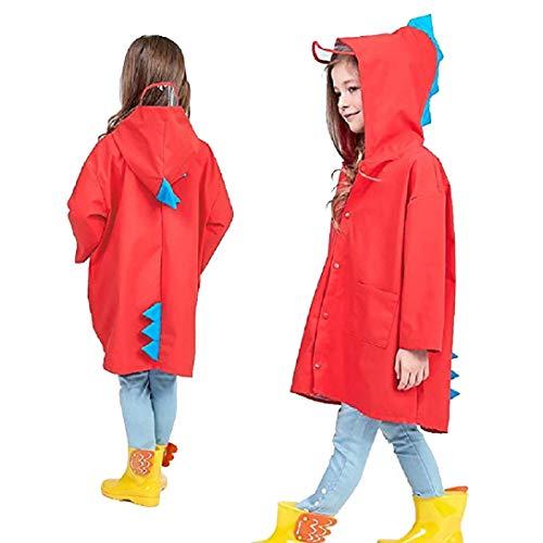 Kids Raincoat Kinder Regenjacke Wasserdichten Regenponcho Regen Cape Rain Tragen niedliche Unisex Storm Break Regen Slicker Red Size M