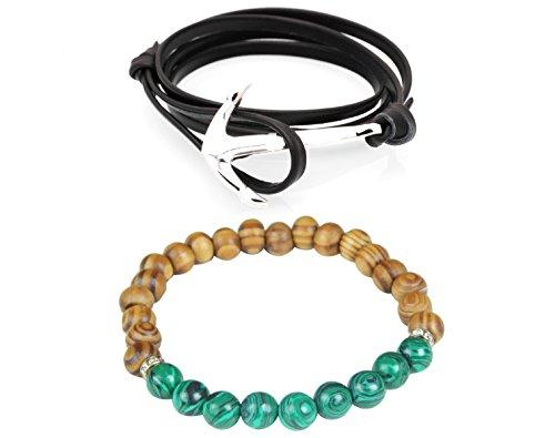 Outdazzle Designer Black Leather Silver Anchor Bracelet with Multi-color Beads Men