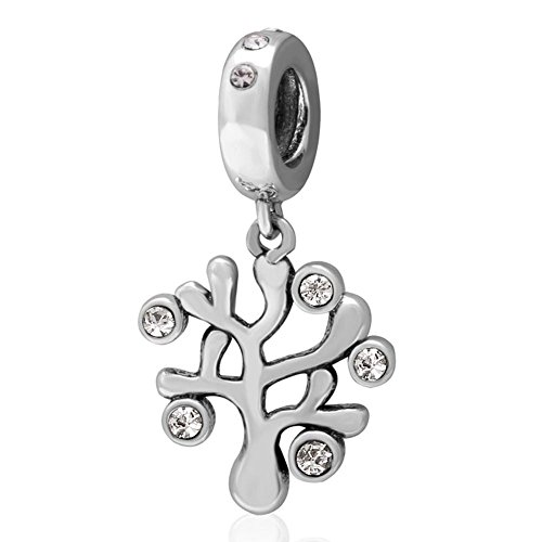 Sandcastle pendenti, con zirconia cubica, in argento sterling 925, con ciondolo albero della vita charm per braccialetti charm europei da festa della mamma regali