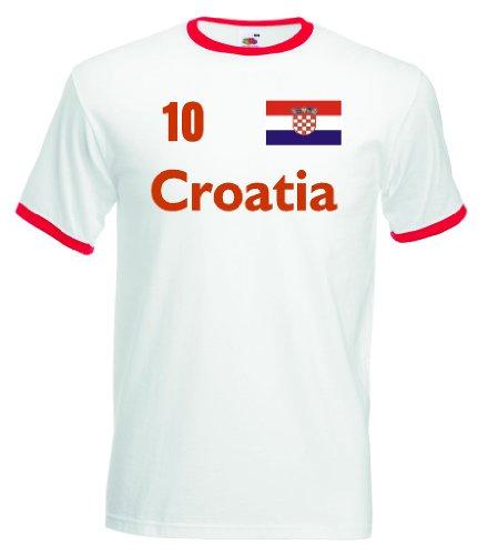 Croatia / Kroatien Herren T-Shirt Retro Trikot Nr.10weiß L