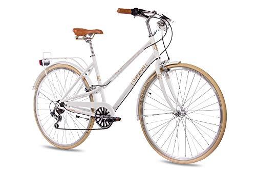 CHRISSON 28 Zoll Damen City Bike - Old City Lady Weiss - Old School Damenfahrrad mit 6 Gang Shimano Tourney Kettenschaltung, Retro Cityfahrrad für Frauen