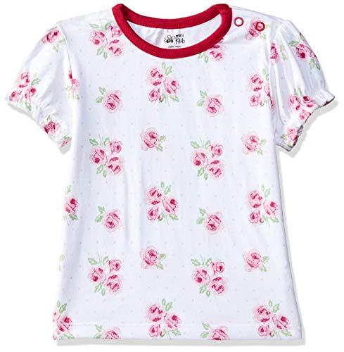 MINI KLUB Baby Girls' Plain Regular Fit T-Shirt (890340E Rose Print_Rose Print_6-9M)