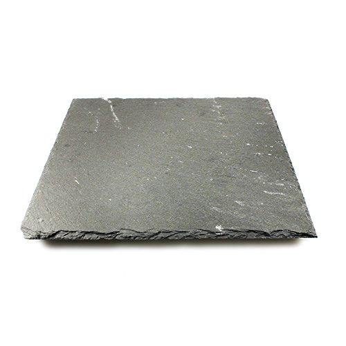 com-four® Plaque Ardoise sous Forme de Buffet, 25 x 25 cm, Ardoise Naturelle, sous-Verres (01 pièce - Assiette de Service 25 x 25 cm)