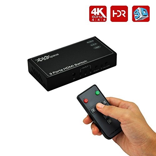 XOLORspace 23031 4K@60Hz HDMI 2.0b HDMI Switcher 3x1| HDR 3 Ports HDMI Switch 3x1(3 inputs and 1 output) 4:4:4 with remote control and auto switch (UK-plug power supply)