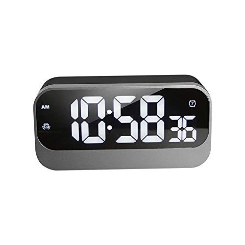 NFNFUNNM Große LED-Anzeige des Digital-Weckerspiegels mit Doppel-USB-Schnittstelle dösen Schlafzimmer-Nachtendekoration des Schlafes Moderne (Outdoor-lautsprecher-dosen)