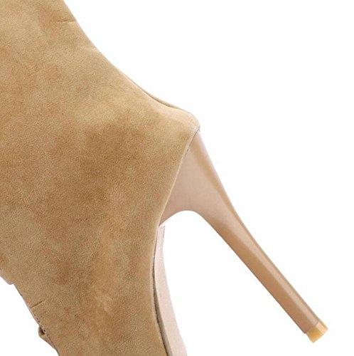 GLTER Frauen Sandalen High Bein Stiefel Knie Kalt Stiefel High Heels Cross Strap Hohlpumpen apricot